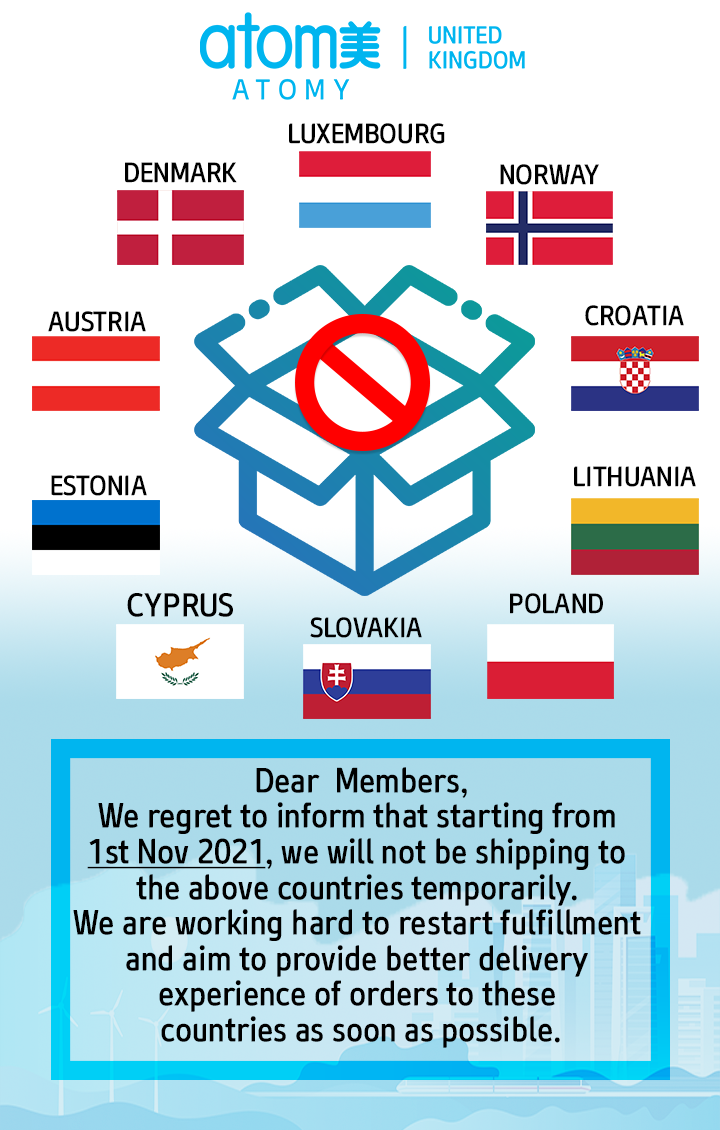 Shipping stopped temporarily to various EU countries